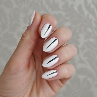 edles nageldesign, nail design, ładne paznokcie. weiß mit dunklem streifen