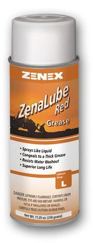 Professional Red Grease Lubricant Sprays as Thick as Grease Superior Long Life Resists Water Washout Advanced formula safely provides lubrication and protection. Use on bearings, motor shafts, roller chains, hitches, bearing surfaces, cables, pulleys, hinges, rollers, cams, couplings, bushings and more. 16 oz. Aerosol Net Weight 11 oz. 12 per case  ONLY $76/CS.