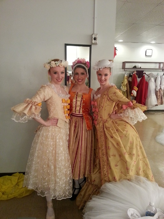 Hannah Mae Cruddas, Heather Lumsden-Ruegg, and Sarah Koekkoek backstage.