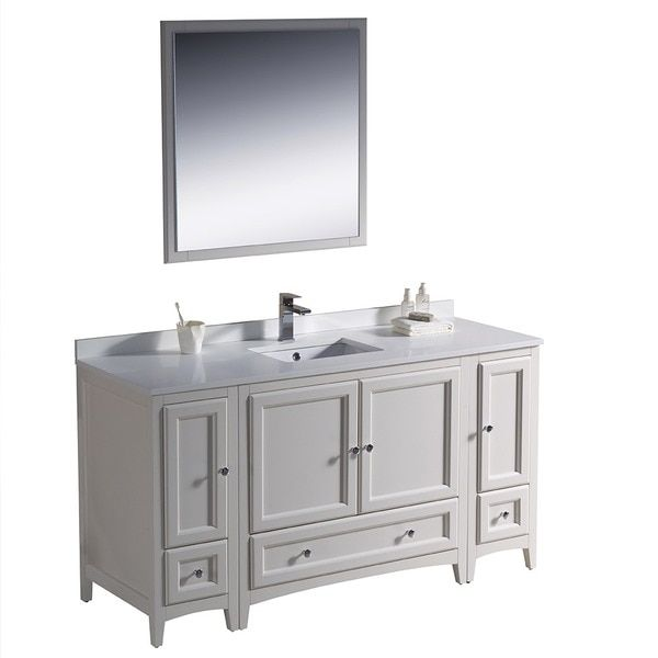 Photo Album For Website Fresca Oxford inch Antique White Traditional Bathroom Vanity with Side Cabinets