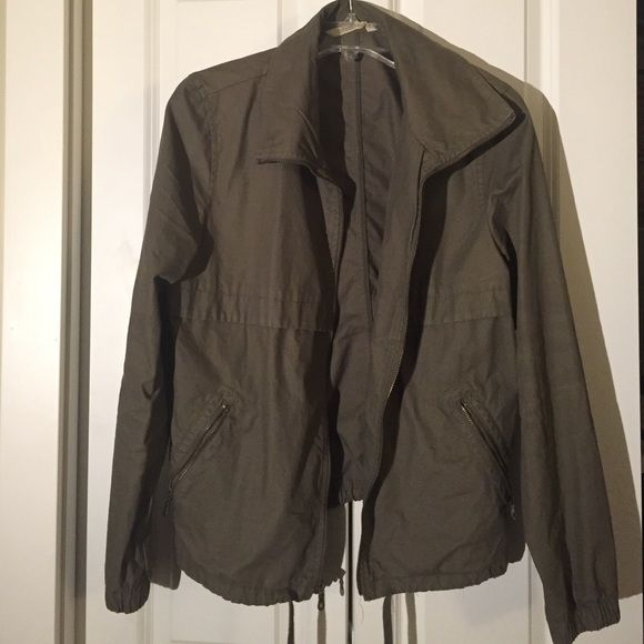 Army Green Utility Jacket Casual utility jacket with gold zipper details, side pockets, and adjustable draw string waist. Old Navy Jackets & Coats Utility Jackets