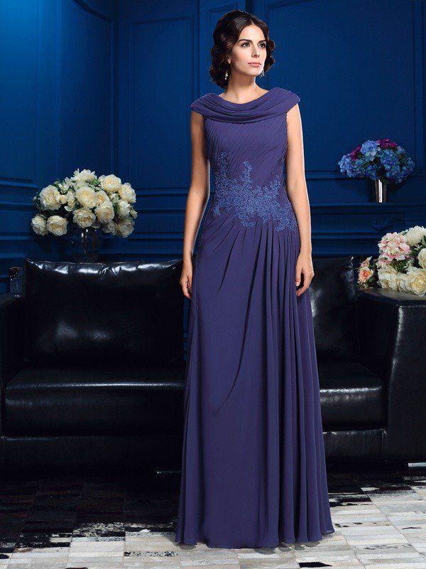 cbab6b9f6d8 A-Line Princess Pleats Sleeveless Long Chiffon Mother of the Bride Dresses
