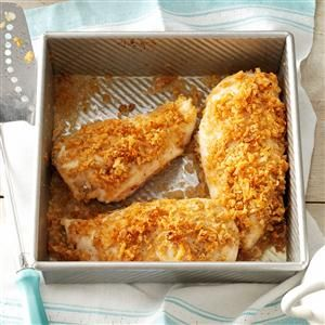 Crispy Onion Chicken Recipe -My family loves chicken, and I'm always trying new ways to prepare it. This golden-brown chicken with its crunchy french-fried onion coating is great with rice, baked potatoes, macaroni salad or potato salad. —Charlotte Smith, McDonald, Pennsylvania