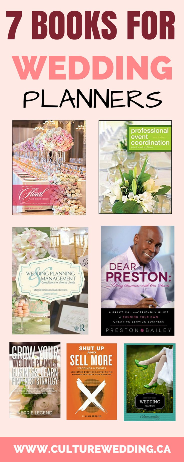 A LIST OF THE BEST WEDDING PLANNER BOOK. Looking to grow your event planning business? Here is a list of the best wedding planning books to help grow your business. Grow your wedding business with these amazing tips. How to start an event planning business. How to make money with your wedding business. #eventplanning #weddingplanning.