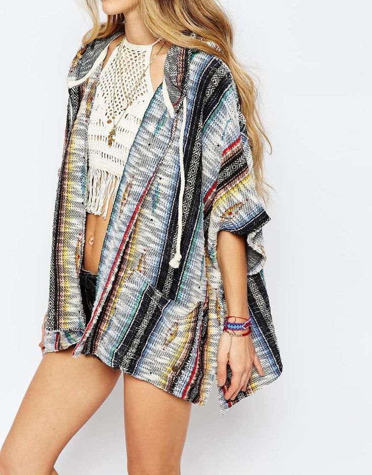 Image 3 ofBillabong Festival Poncho In American Blanket Print With Hood