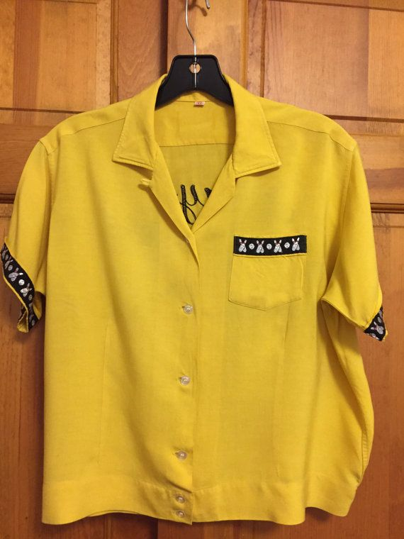 Vintage Bowling Shirt 1950s 1960s/Women's Large/Rockabilly/Loop Collar Button Down/Yellow/Bowling Pins/Mary Foster/