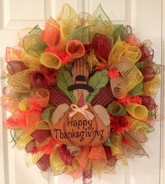 mesh thanksgiving wreaths