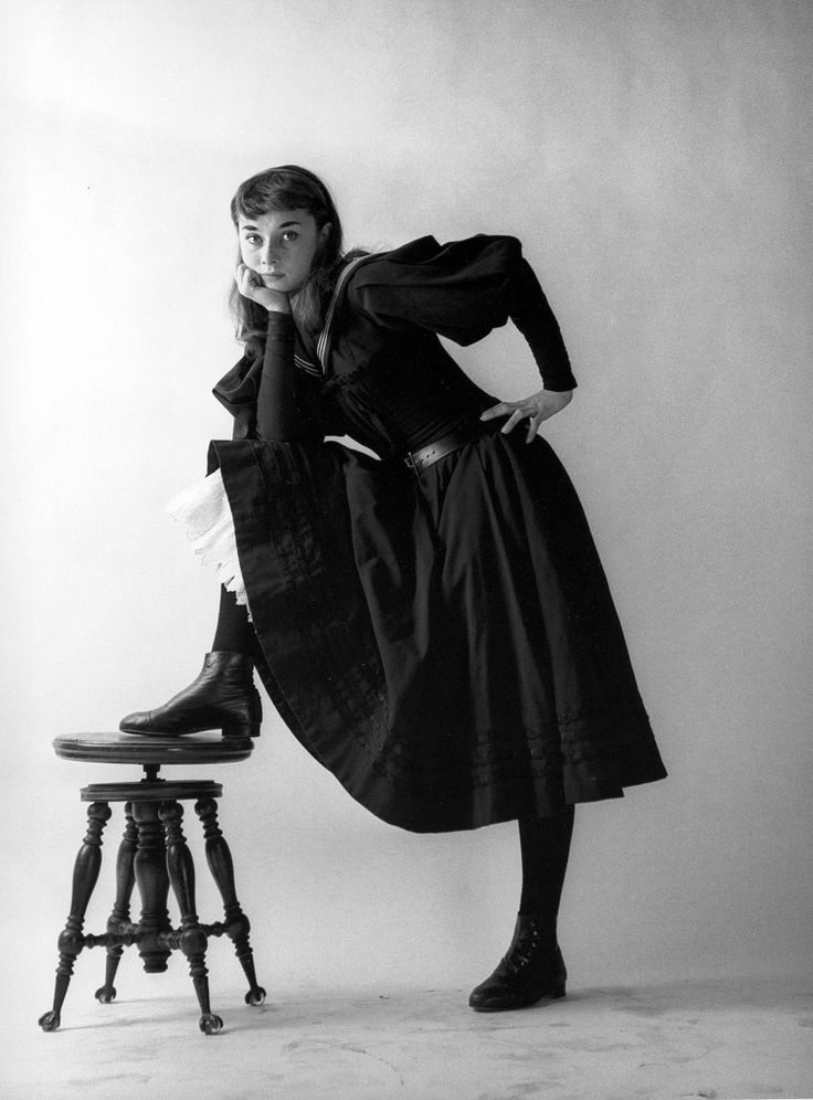 "Audrey Hepburn as ""Gigi"" in her first Broadway show, photo by Milton Greene, New York City, 1951"