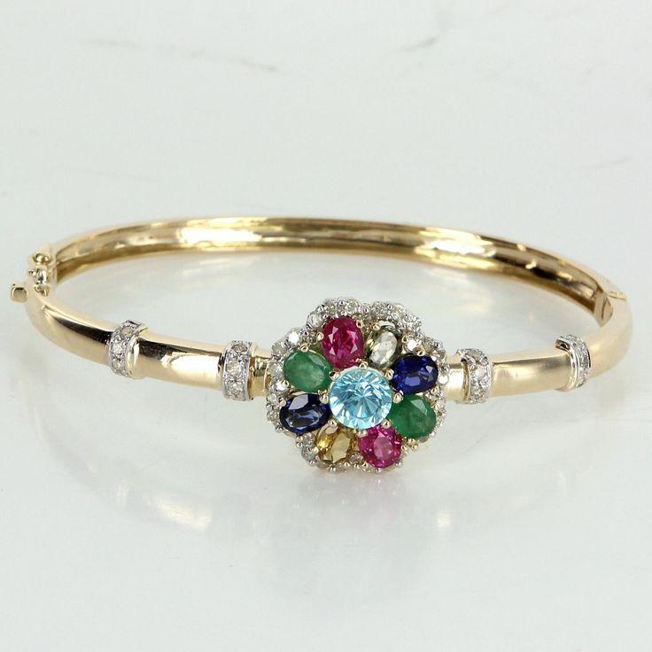 Rainbow Gemstone Diamond Bangle Bracelet Vintage 14 Karat Gold Estate Jewelry Fine