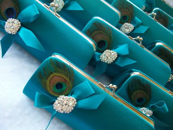 Peacock Feather Bridesmaid Clutch Teal Blue Purse by Parisxox, $150.00