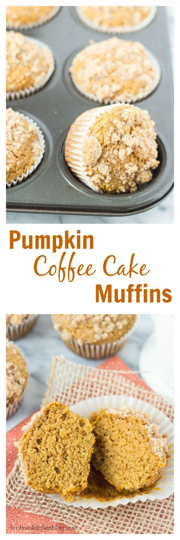 Healthier Pumpkin Coffee Cake Muffins - so light, tender, and moist, and filled with fall spices!