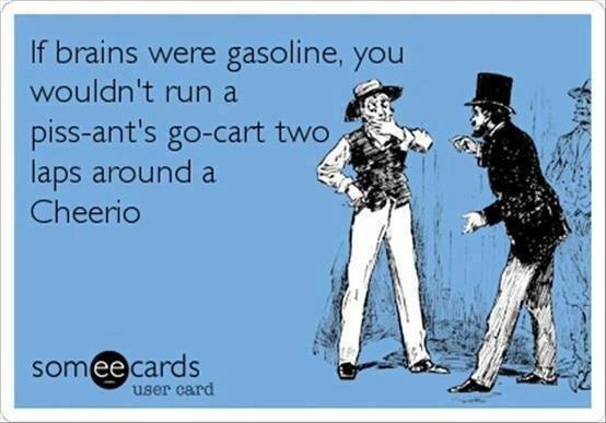 If brains were gasoline... ecard
