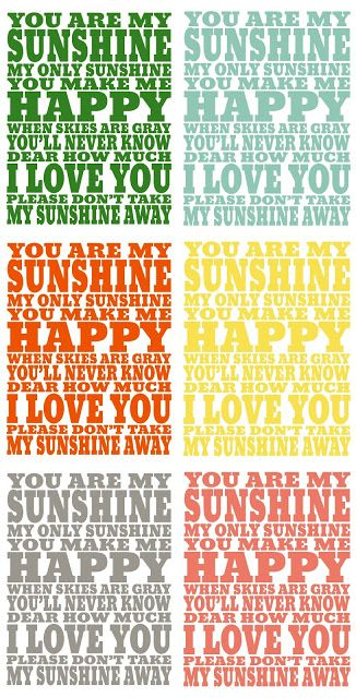 You Are My Sunshine Printable - perfect for a nursery!