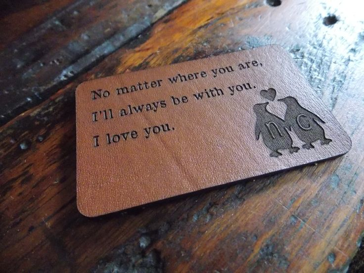 Laser Engraved Vegtan leather. Great Valentines gift to put in your wallet :)