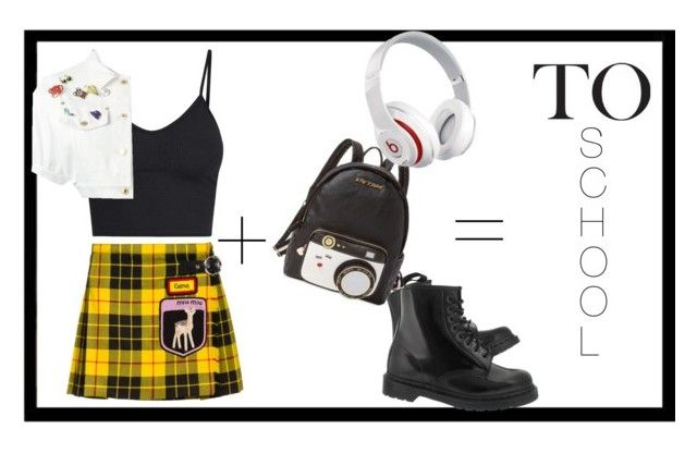 """back to school"" by anastasia-sutawijaya on Polyvore featuring Miu Miu, Moschino, Dr. Martens, Betsey Johnson and Beats by Dr. Dre"