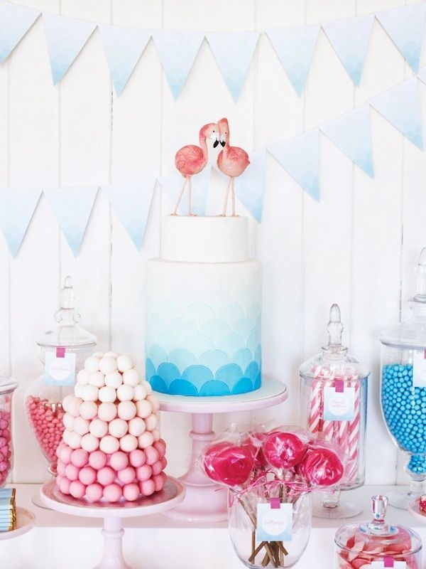 This is so cute. Retro Pink Flamingo Pool Party with an ombre blue cake (+ ombre pink cake ball tower too!) by politowitz