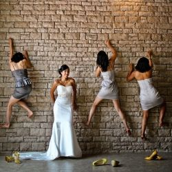 Rock climbing bridesmaids at the Westin in the Caribean wedding gawker.com