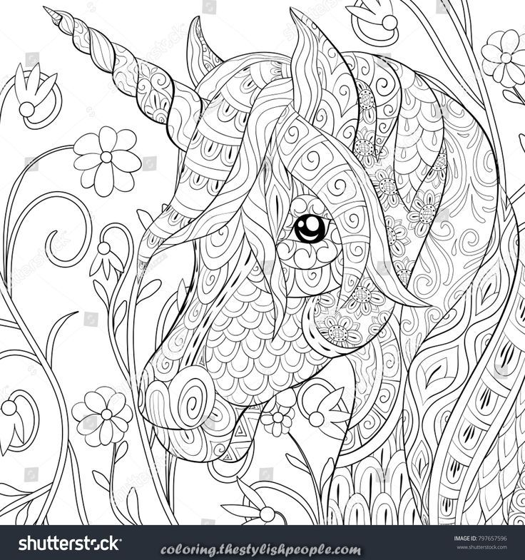 Magical Grownup Coloring E Book A Cute Unicorn On A Floral Background To Chill Out Unicorn Coloring Pages Unicorn Pictures To Color Horse Coloring Pages