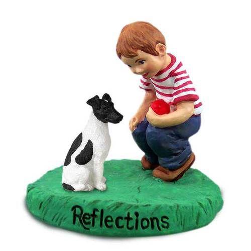 Fox Terrier Black & White with Boy Figurine