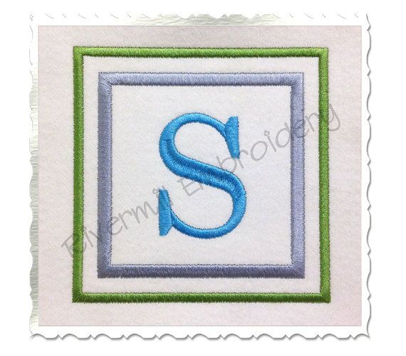 Double Square Monogram Machine Embroidery by RivermillEmbroidery