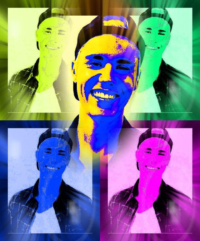 Dit is mijn (uiteindelijke werk, oude werk) waarbij ik de blije emotie in het laatste proces meer heb versterkt door de achtergrond met 4 afbeeldingen in 4 kleuren te zetten. Daarnaast heb ik het blije gezicht meer naar voren laten komen. De blije emotie heb ik versterkt doormiddel van kleur, achtergrond en het belangrijke voor te zetten. Dit is mijn uiteindelijke werk van mijn blije emotie op picsart.