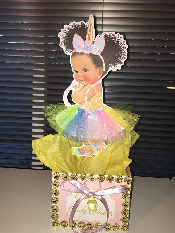 Pre Cut Pastel Rainbow ROSE GOLD Unicorn Princess Centerpiece with Wood Stand OR Card Stock Cut Outs Unicorn Babies of Color Rose Gold Horn