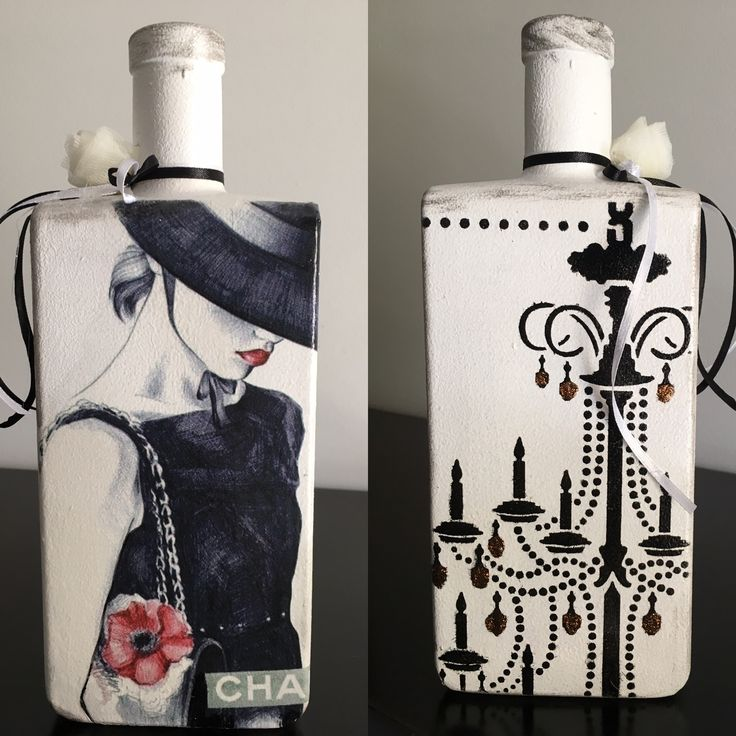 Bottle with decoupage