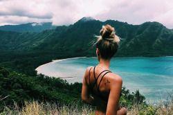 Tan, photography, messy bun, black bikini, girl, mountains, tropical, lake, peaceful