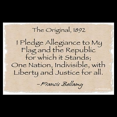 Oct. 12, 1892. The original version of the Pledge of Allegiance is first recited in public schools to celebrate the 400th anniversary of Columbus' landing.