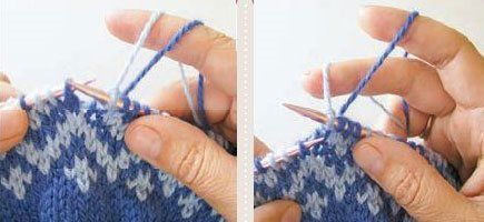 Color Knitting—How to hold yarn when knitting with two (or more!) colors—knittingdaily.com