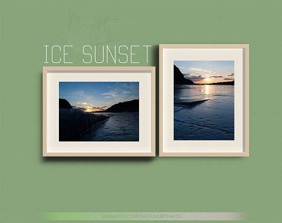 Ice Sunset. 2 Images. Nature Photography  Instant Digital