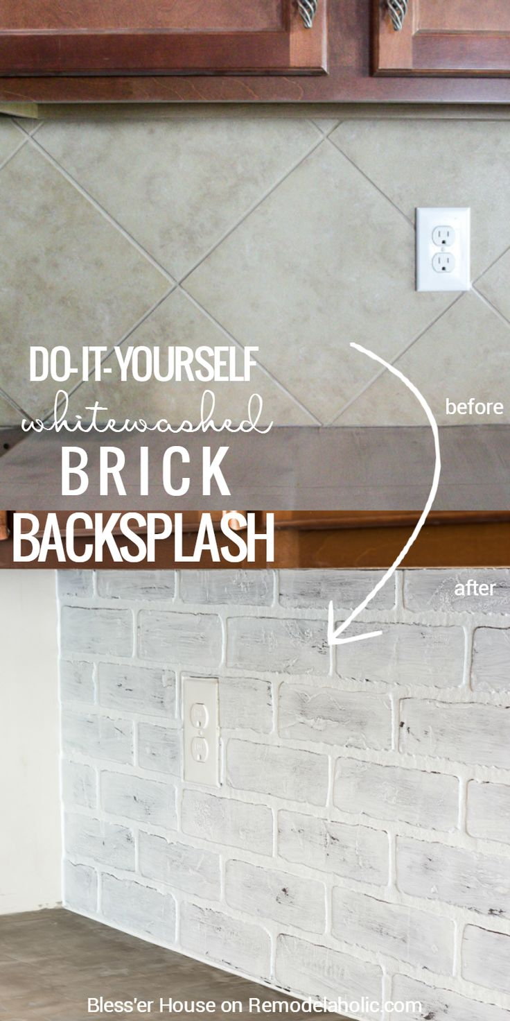 How to cover wall tiles - Diy Whitewashed Faux Brick Backsplash