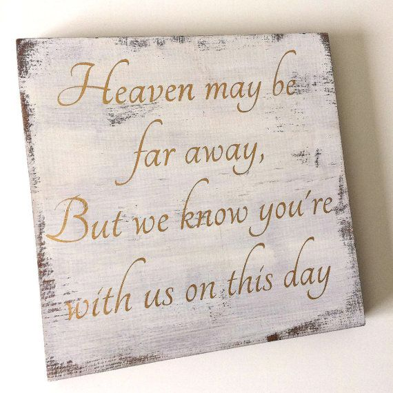 Wedding memorial sign in curio and cream finish with metallic gold lettering. This sign is painted with all natural milk paint and finished with furniture wax for durability. Approx 11.5X11.5