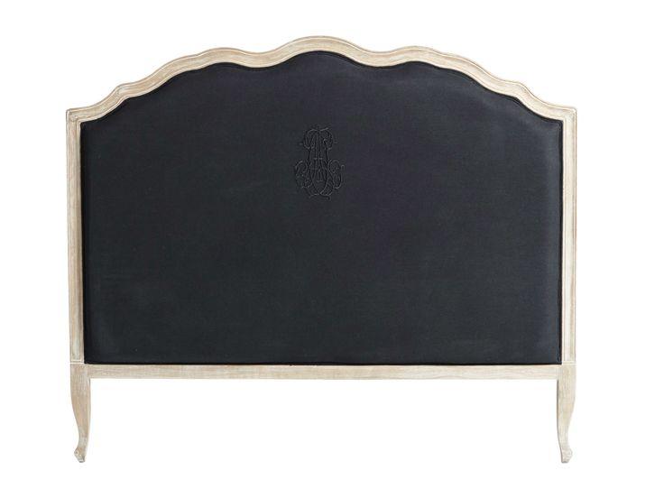 Hoofdeinde bed 140 cm, zwart linnen  Ombelline