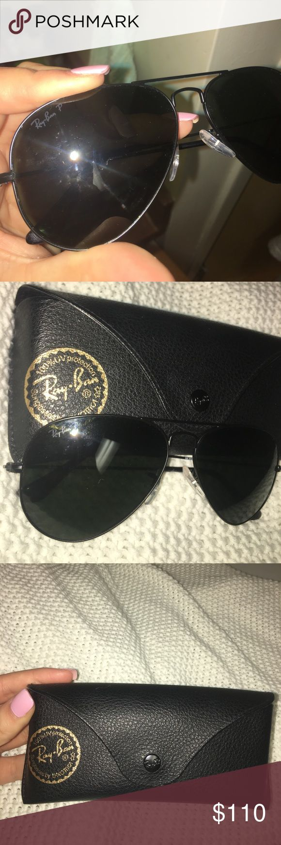 ALL BLACK RAY BANS - POLARIZED Ray Ban black aviators. Polarized. Comes with case. Bought at sunglasses hut. Ray-Ban Accessories Sunglasses