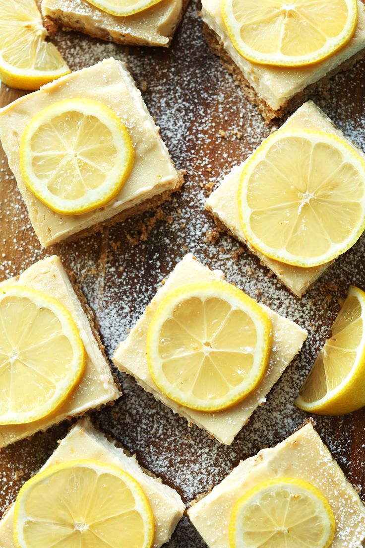 Creamy, naturally sweetened vegan lemon bars made with 10, simple ingredients and a delicious gluten free crust.