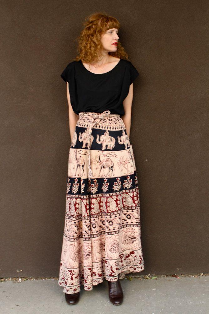 Vintage 70 S Maxi Indian Wrap Skirt Block Print Indian