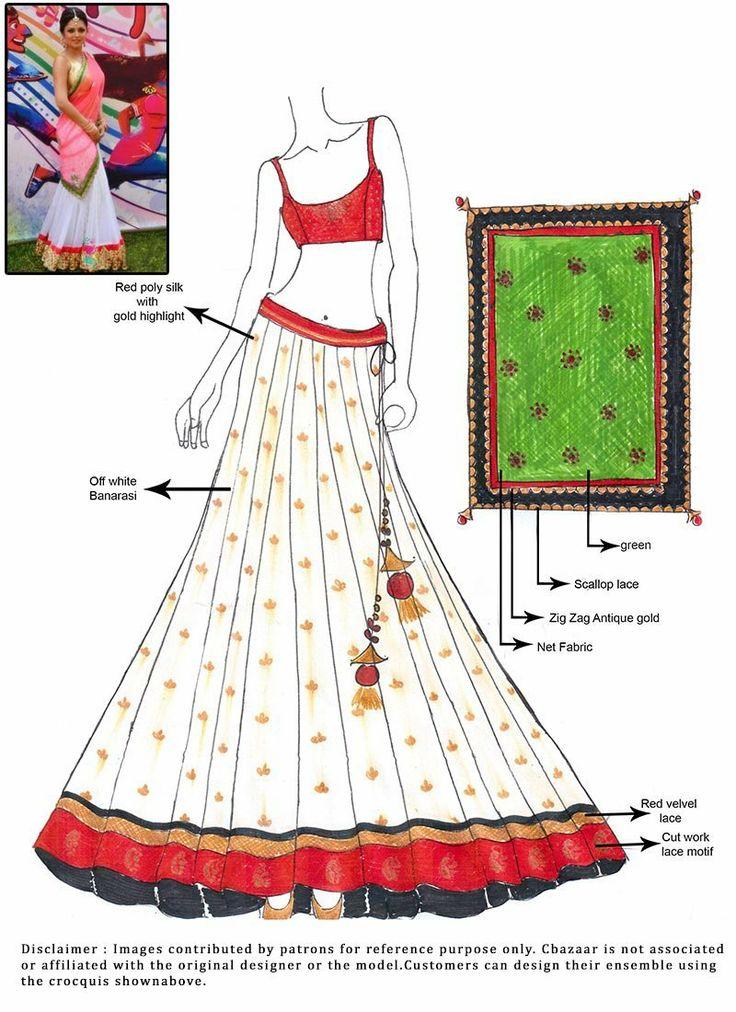DIY Madhubala Off White Benarasi Lehenga Choli