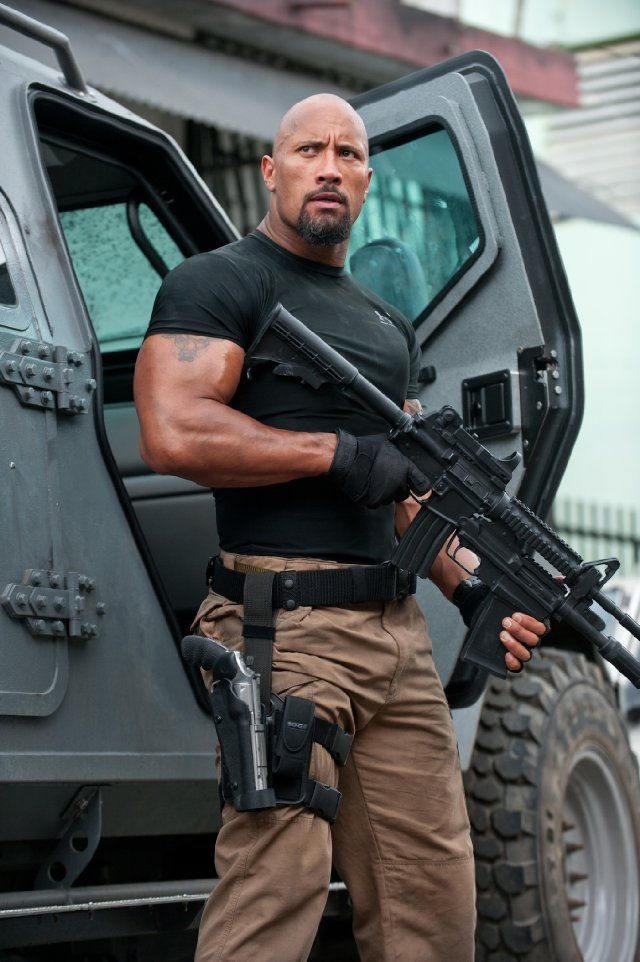 The Rock Dwayne Johnson in Fast Five - to make it perfect he could lose the huge gun