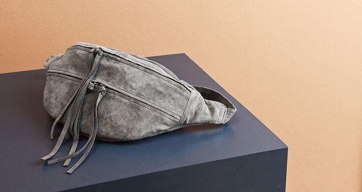 Yvonne Koné SS16 Oversized bum bag, calf suede colour Stone