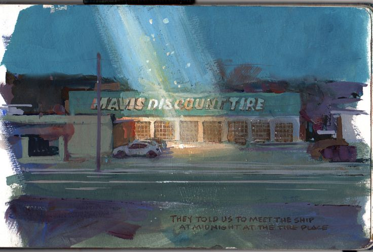 Strange Light at the Tire Place, casein, 5x8 inches.