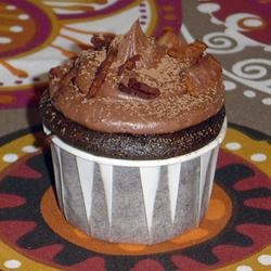 Dark Chocolate Bacon Cupcakes...maybe with some caramel or maple ...
