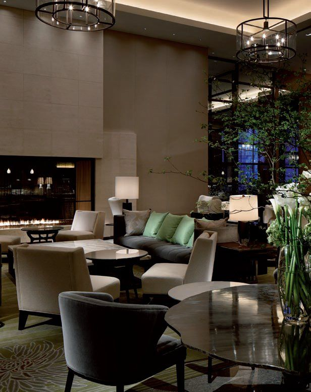 The tea lounge has a muted colour palette of 'garden greens' Palace Hotel, Tokyo