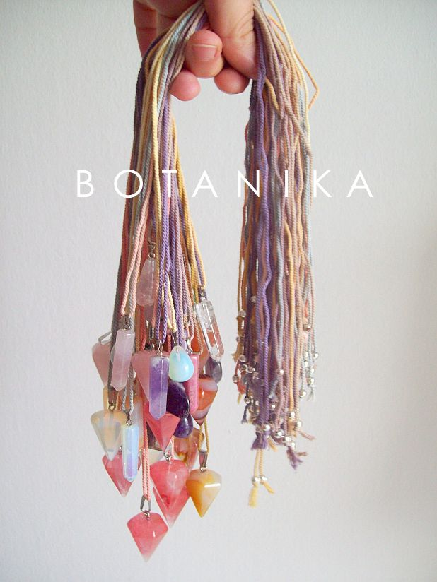 mineral pendants on naturally dyed cotton cord  www.facebook.com/hellobotanika