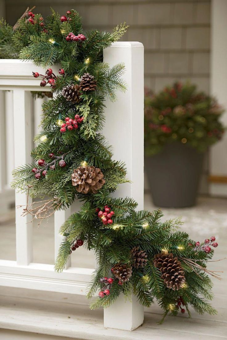 Faux Pine Pre Lit Garland Outdoor Battery Pack Christmas