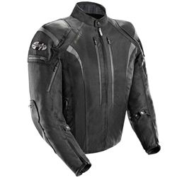 The Atomic 5.0 all black motorcycle riding jacket from Joe Rocket is made from waterproof treated rock textile material. Externally accessible protective C.E. approved armor in shoulders & elbows.