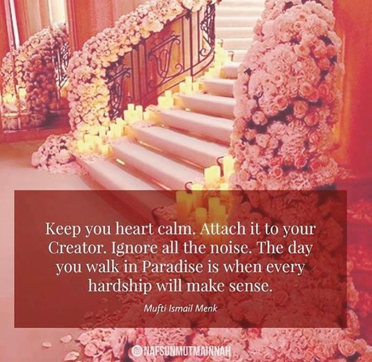 """Keep your heart calm. Attach it to your Creator. Ignore all the noise. The day you walk in Paradise is when every hardship will make sense."" -- Mufti Ismail Menk"