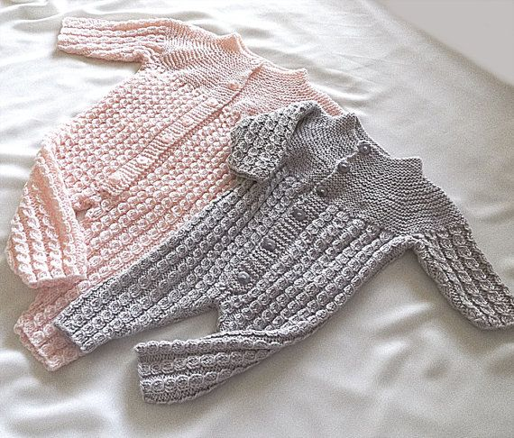 Baby onesies with top down knit matching jacket от OgeDesigns