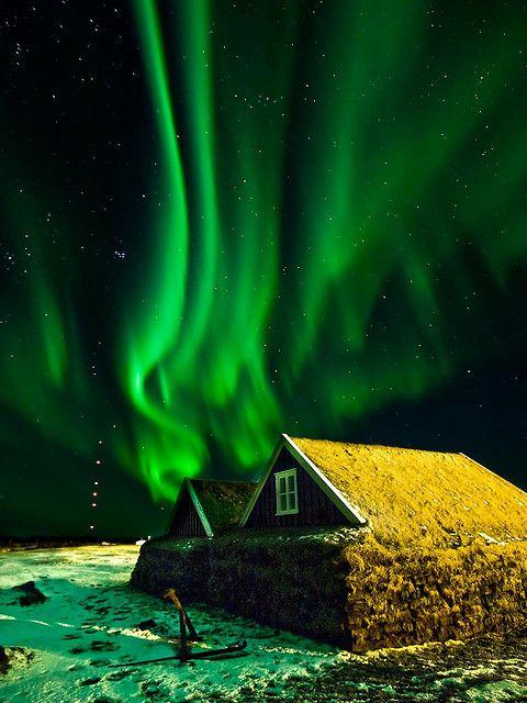 Green Aurora, Iceland