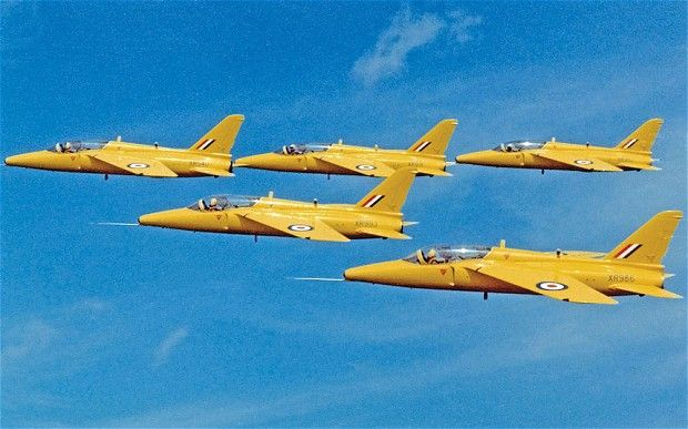 "After the Pelicans came the Yellowjacks, an aerobatic team formed at No 4 Flying Training School at RAF Valley in 1964. Five yellow-painted Gnat T1s put on shows, which according to the book, proved to be impressive due to their ""sheer grace, precision and an extended repertoire of slick formation changes""."
